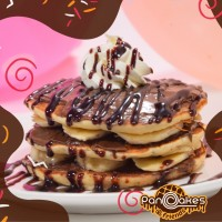 The best-American pancake cu Nutella si banane si topping ciocolata neagra MD163