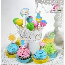 Mini platou-6 cake pops+6 briose decorate MC34