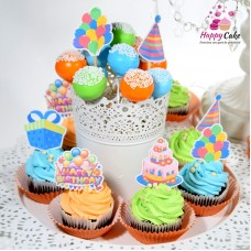 Mini platou-6 cake pops+6 briose decorate MC06